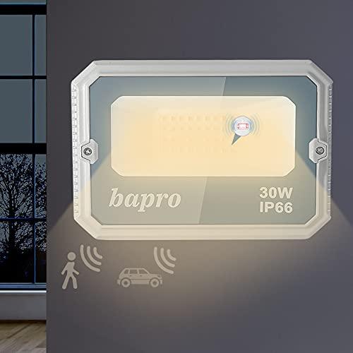 30W Focos LED Exterior con Sensor de Movimiento, 3000LM Proyector LED Exterior con Radar Detector, IP66 Impermeable Reflector LED 3500K Blanco Cálido Iluminacion para Jardin Garaje Entrada