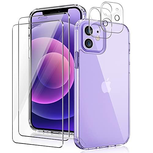 YIRSUR Funda Compatible con iPhone 12, con 2 Protector de Pantalla+ 2 Protector de Lente de cámara, PC dura y silicona TPU, carcasa resistente a los golpes, 6,1 pulgada - transparente 🔥