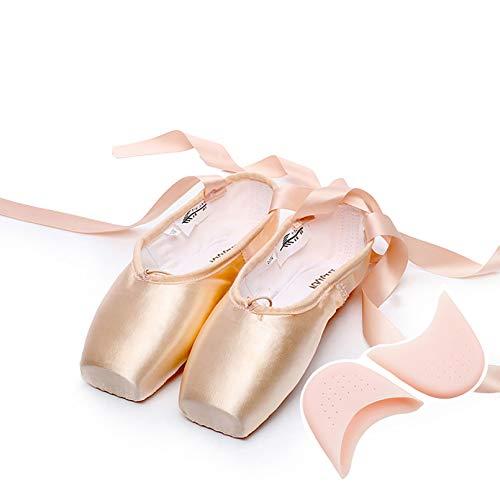XXXZZL Spitzenschuhe Ballettschuhe 3 Härte Spitzentanzschuhe Ballettschläppchen mit genähtem Band für Damen Mädchen (Bitte wählen Sie eine Nummer größer),A,45