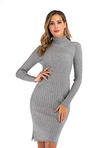 Enjoyoself Damska sukienka z dzianiny, elegancka, prążkowana, ciepła sukienka zimowa, podkreślająca figurę, na czas wolny