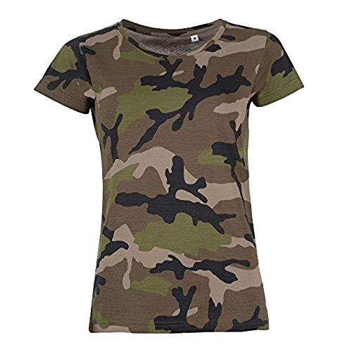 SOLS- Camiseta de Manga Corta Camo para Chica/Mujer (M) (Camuflaje)