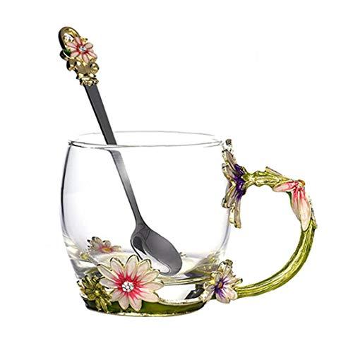 lulongyansf Emaille-Fertigkeit-Glasblumen-Tee-Schalen-Bleifreies Getränk Kaffee Becher mit Löffel Personalisierte Geschenke für Mama Ehefrau Frauen Valentines Hauptgarten