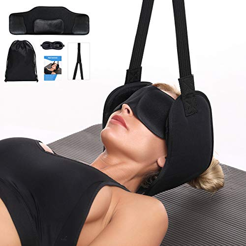 Hammock for Neck Pain Relief w/Adjustable Position Sponges - Portable Head Hammock Help to Reduce Neck, Back, Shoulder and Headache Pain, Enjoy Maximum Relaxation at Home or The Office