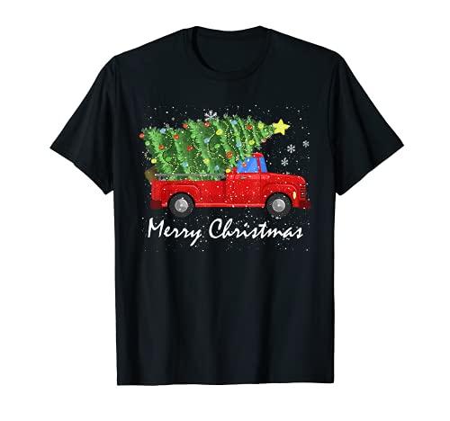 Merry Christmas Vintage camisa rojo camión con árbol camiseta Camiseta