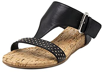 Rampage Women s Sheryl T-Bar Cork Wedge Dress Sandal with Studs and Buckle Closure
