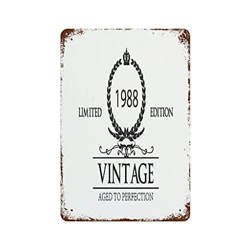 YCNJJB Cartel de peltre de 1988 para copa de vino, placa de metal, personalizable, de moda, para pared o habitación, color blanco 20 x 30 cm