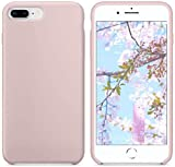 Funda de Silicona Silicone Case para iPhone 7 Plus, iPhone 8 Plus, Tacto Sedoso Suave, Carcasa Anti Golpes, Bumper, Forro de Microfibra (Rosa Arena)