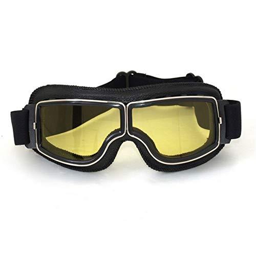 Gafas Vintage de la Motocicleta Moto a Prueba de Viento Scooter Marco de Cuero Gafas de Gafas Moto Gafas (Color : Yellow)