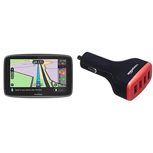 TomTom GO Professional 6250, Navegación Profesional para Vehículos Grandes + Amazon Basics - Cargador de Coche, de 9,6 A / 48W, 4 Puertos USB, para Dispositivos Apple y Android, Negro/Rojo