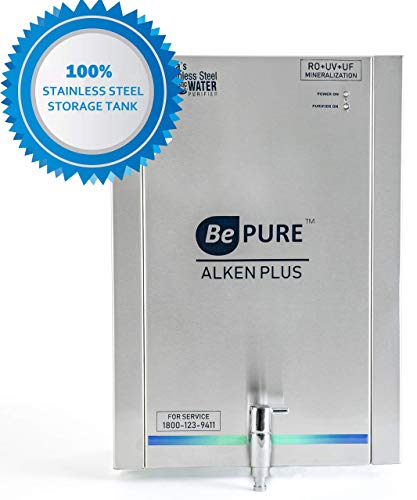 Bepure ALKEN+ 8L 100% Stainless Steel tank RO+UV+UF+TDS Water Purifier (No harmful plastic storage)