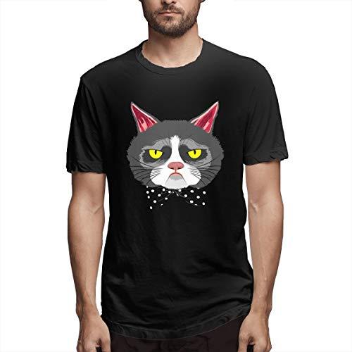 Fashion Grumpy Cat Gesicht mit Gentleman Neck Tie Herren Kurzarm T-Shirt Grumpy Cat Das Buch T-Shirt Männer Grumpy Cat Merchandise In Stores Shirt Männer Schwarz 5XL