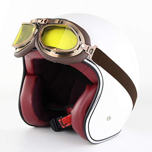 FANGJIA-Helmet Casco de Motocicleta Motocicleta Dot Certificado Harley Casco Retro 3/4 Cruiser...