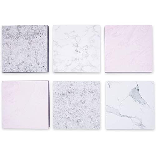 Paper Junkie Paquete de 6 blocs de notas adhesivas de mármol, 6 diseños, 100 hojas, 3.5 pulgadas