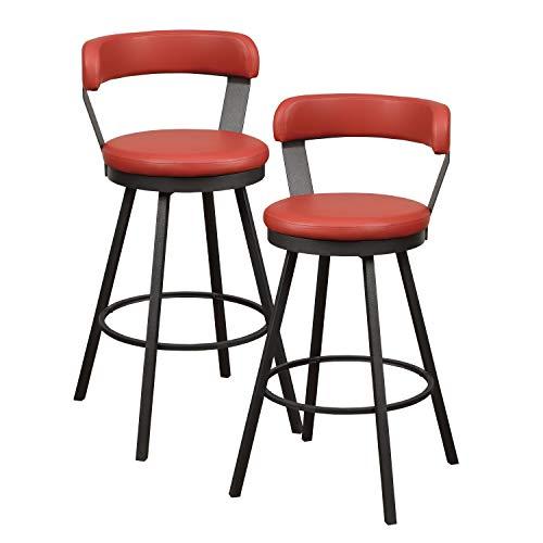 """Homelegance Appert Swivel Pub Height Chair (Set of 2), 30"""" SH, Red"""