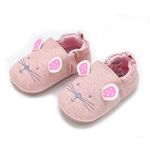 COSANKIM Infant Baby Boys Girls Slipper Soft Sole Non Skid Sneaker Moccasins Toddler First Walker Cirb House Shoes, 18-24 Months Toddler , 01 Pink cat
