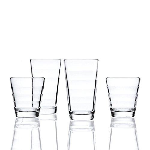 Leonardo Onda Set 12 Becher, 12-teilig, 6 große Becher je 320ml und 6 kleine Becher je 230ml, Klarglas, 011019