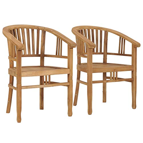Festnight Garden Chairs 2 pcs, Garden Dining Chairs, Outdoor Chairs for Garden, Patio or Dining Room Solid Teak Wood