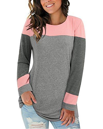 II ININ Women Long Sleeve Patchwork Color Block Round Neck Basic Tunic Casual Blouse Tops T Shirt(Pink/Dark Gray/Gray/Medium)