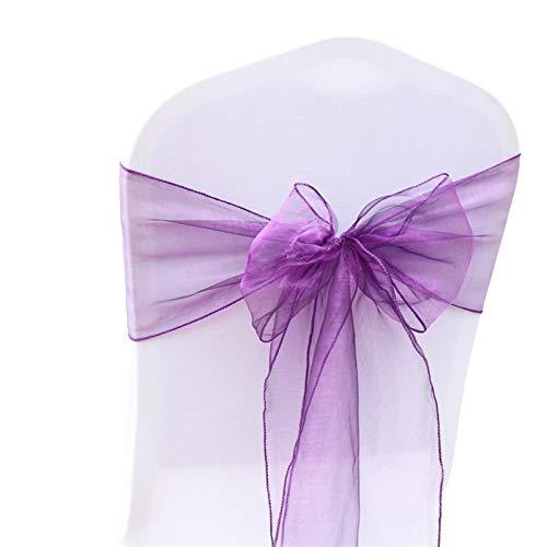 XIARUI Ceinture de Couverture de Chaise 50 / 100pcs Organza Maillot de Mariage Casquette de Mariage nœud pour la décoration de fête de Mariage Occasionnel (Color : Purple, Number of Pcs : 100pcs)