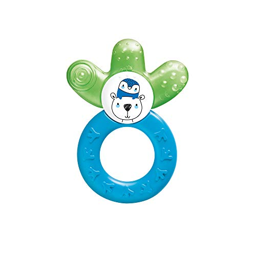 MAM Cooler New, Beißring für Babys fördert Sehsinn & Motorik, Greifling mit Wasserkühlteil erreicht auch die Backenzähne, ab 4+ Monate, grün/blau