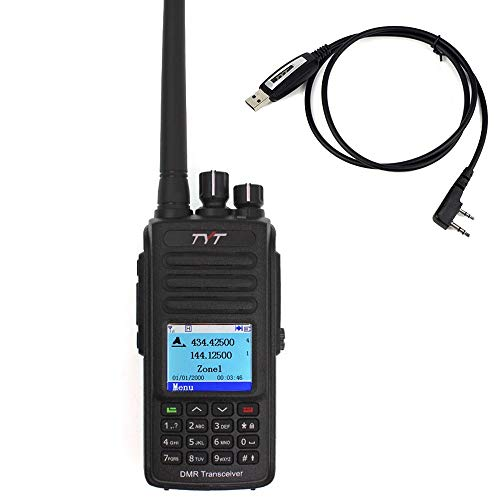 TYT MD-UV390 MD-390 DMR Digital Radio VHF/UHF Dual Band 150-174/450-480MHz Waterproof IP67 Handheld Two Way Radio with USB Cable