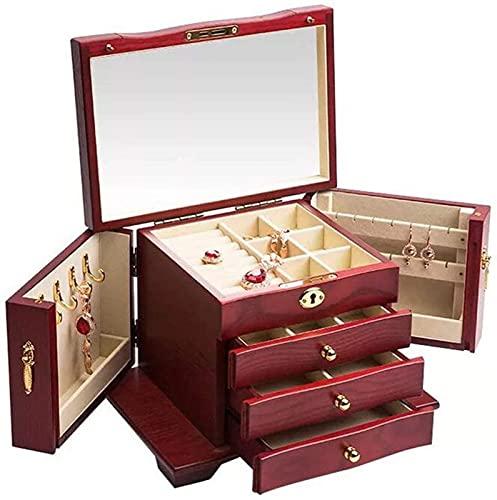 POUAOK Caja de Madera para Guardar Joyas Vintage, joyero para Mujeres, multifunción, portátil, de Gran Capacidad, colección y Regalo, la Mejor opción, marrón(Color:Red,Size:)