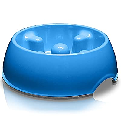 Dogit Go Slow Anti-Gulping Dog Dish, Slow Feeding Dog Bowl Suitable for Wet or Dry Food, Small, Blue