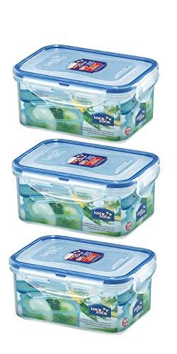 3er-Set Lock & Lock - HPL811 Frischhaltebox rechteckig 151x108x69mm - 600ml Frischhaltedose Vorratsbox Vorratsdose transparent