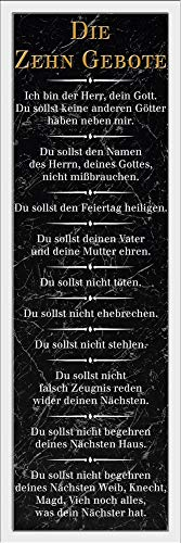 empireposter Die 10 Gebote - Schwarz - Religion Inspirations Slim Poster - Größe 30,5x91,5 cm + Wechselrahmen, Shinsuke® Maxi Kunststoff Weiss, Acryl-Scheibe