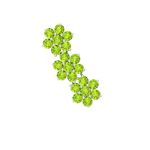 Rosec Jewels 18 quilates oro blanco redonda Green Peridot