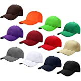 Falari Wholesale 12-Pack Baseball Cap Adjustable Size Plain Blank Solid Color (Assorted Color Group 2)