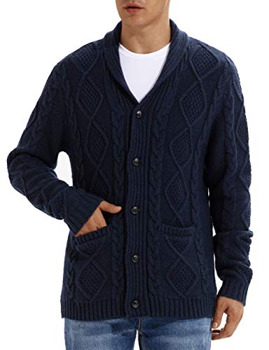 QUALFORT Wool Cardigan Sweater for Mens Shawl Collar Button Down Knitwear Navy Large