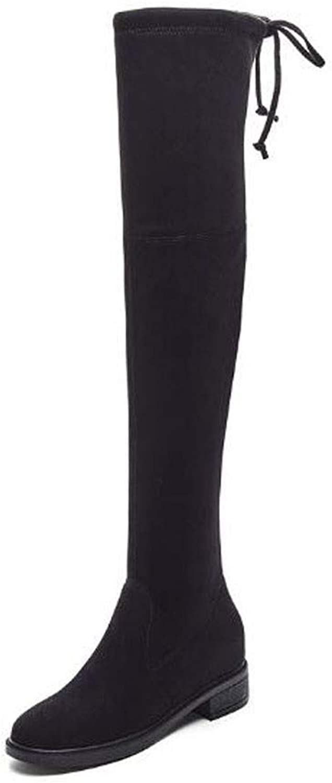 Jiang-zx Damenschuhe, Herbst koreanische Version der Erhöhung der Stiefel mit flachem Boden Ritter Stiefel Lange Stiefel  | Einfach zu bedienen  | Ermäßigung  | Deutsche Outlets