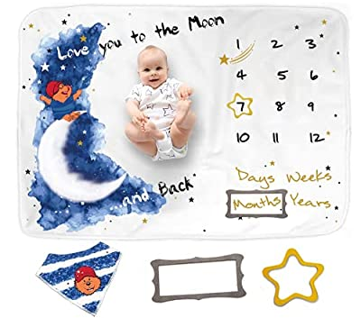 Miles&Molly Baby Monthly Milestone Blanket Boy | Newborn Baby Boy Gift | Nursery Decor Baby Boy Gift for Baby Shower | 1-12 Months Growth Chart Unique Baby Gift for Newborn Boy, 60x40 by HS Baby Collection