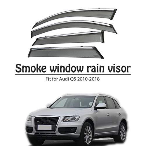 BTSDLXX 4Pcs Car Side Fensterabweiser Windabweiser, für Audi Q5 2010-2018 Weathershields Window Visier, Fenster Schutz Sonne Regen Dunkel Rauchabzug Schatten Auto Zubehör