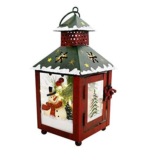 Waroom Home Decorative Christmas Lantern Hanging LED Lantern Decor, Rustic Metal Holiday Lantern Table Top Lantern Battery Operated Indoor Outdoor Hanging Lantern Table Centerpiece (7.5X4X4in, Green)