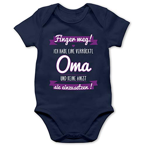 Shirtracer Sprüche Baby - Ich Habe eine verrückte Oma Lila - 1/3 Monate - Navy Blau - Babybody Junge - BZ10 - Baby Body Kurzarm für Jungen und Mädchen
