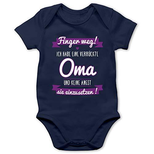 Shirtracer Sprüche Baby - Ich Habe eine verrückte Oma Lila - 1/3 Monate - Navy Blau - Strampler Junge 50/56 - BZ10 - Baby Body Kurzarm für Jungen und Mädchen
