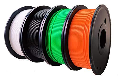 Maths PLA+ 3D Printer Filament 1.75mm (±0.02 mm), 1Kg/2.2lb, 0.25Kg/Spool Independent Vacuum Package. 4 Colors Pack for 3D Printer & 3D Pen-Orange, Green, Black, White