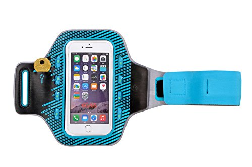 FLEXIFOIL Android and iPhone Case for Arm Cell Phone and iPod Protector Armband - Fitness Accessories for Crossfit Running Sports and Exercise - Men and Women's Neoprene Sportsband with Safety LEDs
