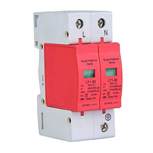 385V Überspannungsschutzgerät, 20KA Niederspannungsableiter Thunder Tele Protector für Telefone und elektronische Geräte(2P80KA)