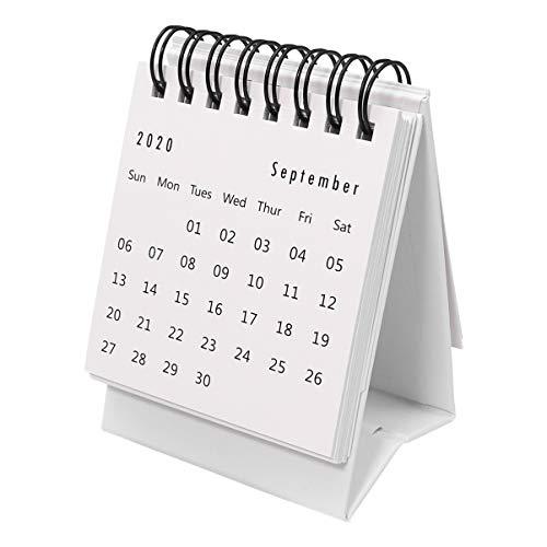 STOBOK Mini Calendario de Escritorio 2021 Calendarios de Mesa Plegables Calendario de Calendario de Color Sólido para El Hogar de La Oficina (2020. 7-2021. 12 Blanco)
