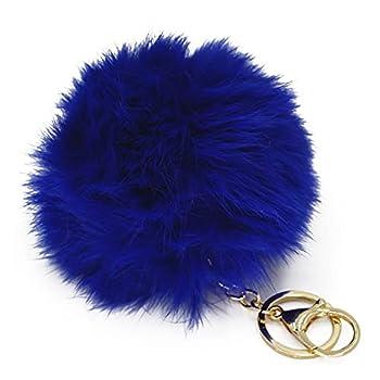 Miraclekoo Rabbit Fur Ball Pom Pom Key Chain Gold Plated Keychain with Plush for Car Key Ring or Handbag Bag Decoration  Blue