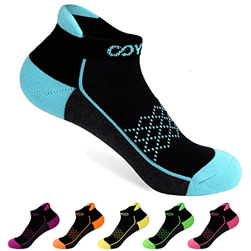 COSYOO Womens Athletic Ankle Socks: 6 Pairs Performance Cushioned Cotton Running Socks for Women Low Cut Sports Tab Socks