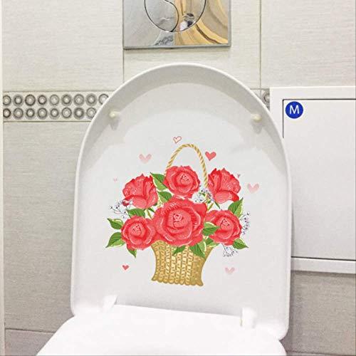 Toilet Sticker Rood Romantische Rose Mand Slaapkamer Muurdecoratie Wc Decoratie 22.8 * 2,6 Cm