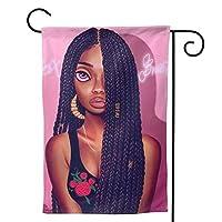 美しいアフリカ系アメリカ人の女の子 のぼり旗 ガーデンフラッグ 両面 防風 サイン 休日を祝う 美しい 庭の装飾 アンティークの冬 ガーデンバナー ファッション 屋外装飾 贈り物
