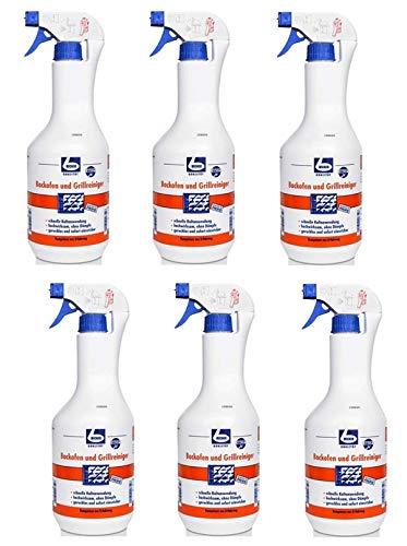6 x DR. BECHER Backofen und Grillreiniger in 1 L Sprühflasche | löst gründlich und wirksam eingebrannte Verschmutzungen + Gratis Thank you Aufkleber