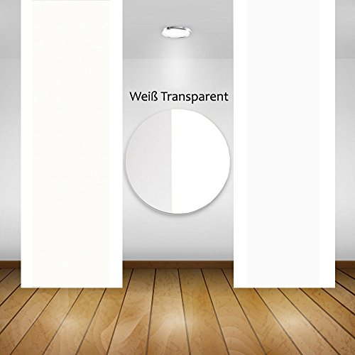 Panneau japonais avec bande velours et lestage en aluminium 60 x 245 cm Lavable (blanc transparent)