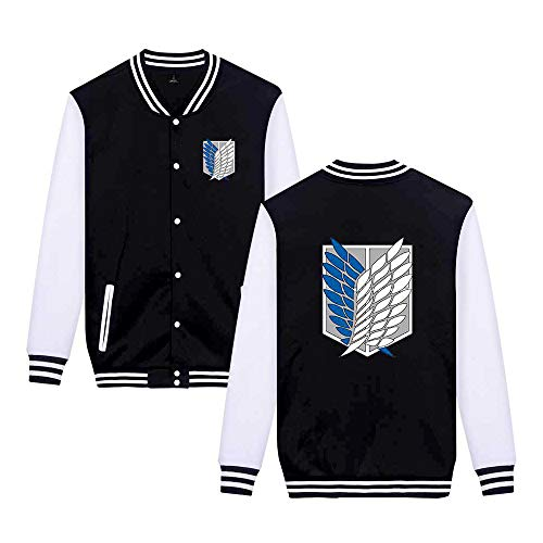 Memory meteor Attack on Titan Anime Cosplay Costume Sportwear Sweater Cool Jacket Unisex Cotton Blend Long Sleeve Coats,Noir,L