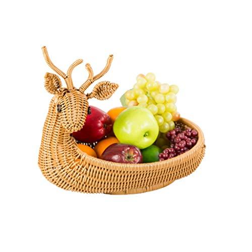 Modern Household Handmade Storage Basket,Brown Deer Shape Straw Braid Rattan Basket Fruits Storage Organizer Fruit Bowl